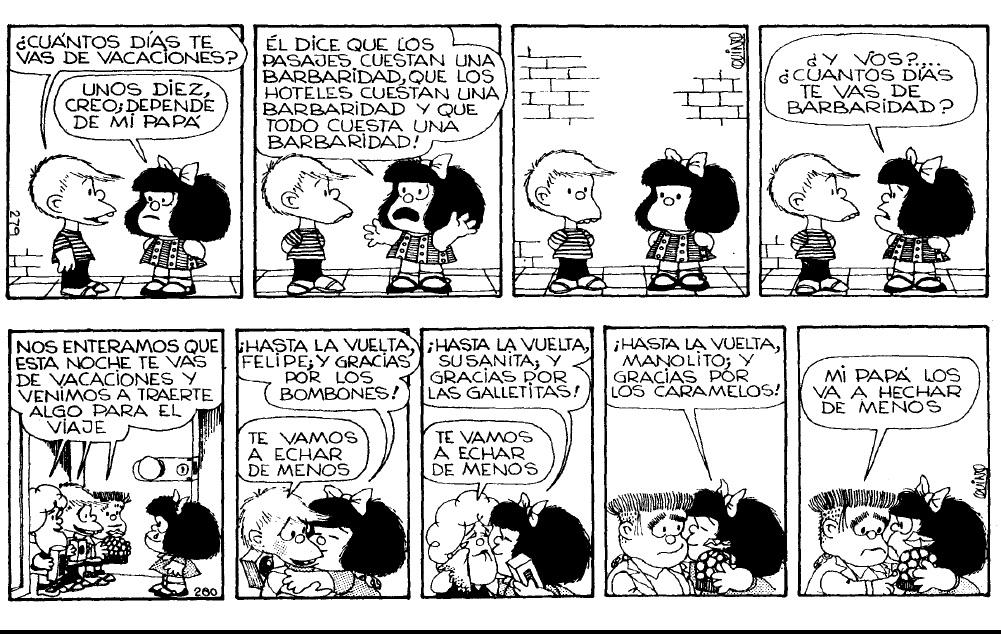 LA ESQUINA DE MAFALDA: Mafalda el sol y las vacaciones (tiras comicas)