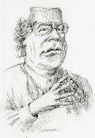 Gaddafi Lybia  drawing Tripolis dictator drawing Lybien zeichnung by wolfgang glechner