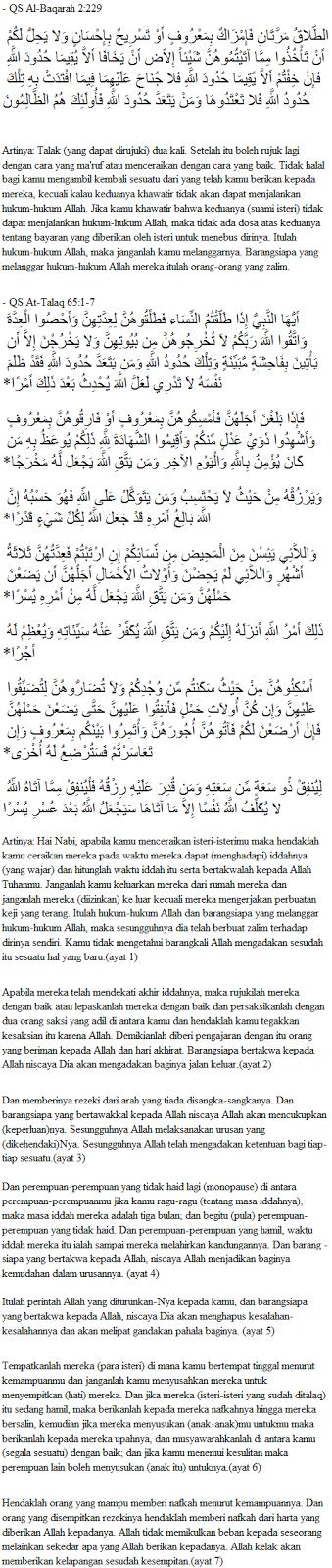 Dalil Al-Qur'an - Dasar Hukum Talak/Cerai