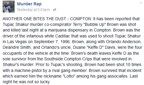 Suspect in Killing of Tupac Shakur Terry Bubble Up Brown killed,2pac shakur,2pac