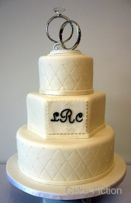 Cake Fiction Quilted Wedding Cake with Diamond Studs