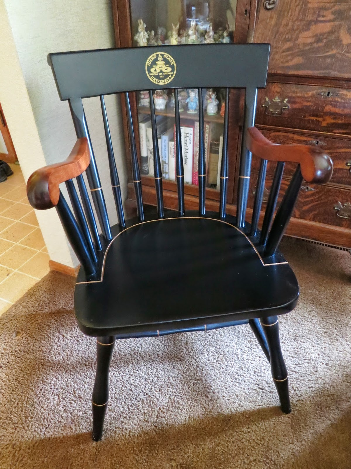 The Plaque Seems A Bit Less Practical Than The Gift My Spouse Received From  Idaho State After His 33 Years Of Service There. He Got This Beautiful Chair .
