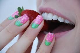 pink strawberry nail art