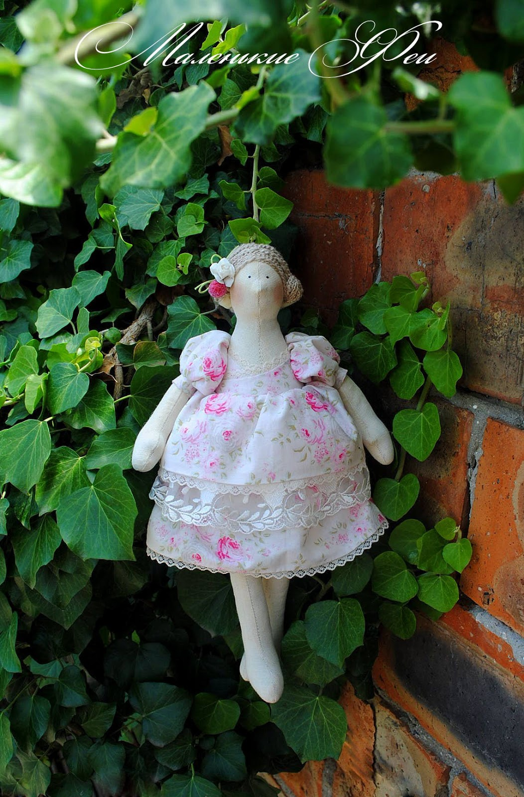 newborn, kids, baby, gift, sewing, pink, girl, kids, buy, handmade, natural, fairy, fairies, beautiful, doll, tilde, cotton, lace, flowers, ivy, girl gift, a gift to mum