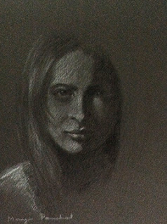 portrait study work using charcoal and white pastel pencil. By Manju Panchal