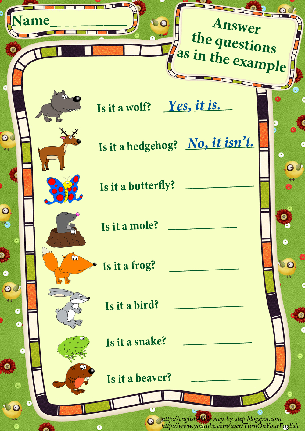 Forest Animals Worksheets – Why Questions Worksheet
