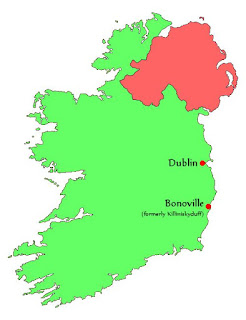 Ireland map showing Dublin and Bonoville