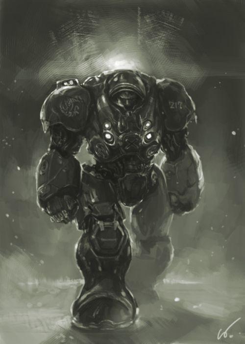 HongWen xaeroaaa deviantart ilustrações fantasia ficção científica Marine na armadura