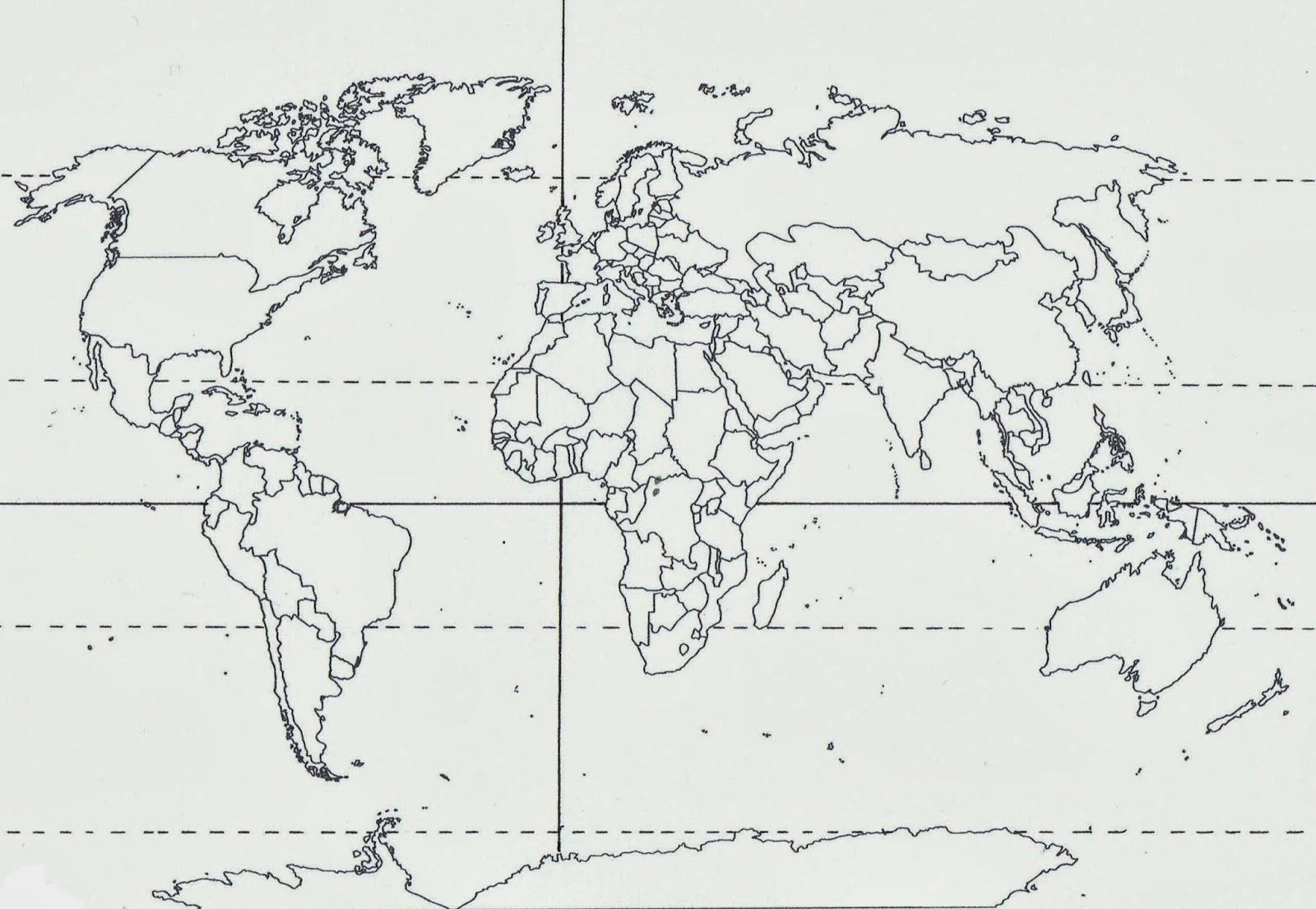 Mapa Mudo De America Con Lineas Imaginarias