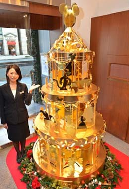 real gold rotating christmas tree with mickey mouse star angel