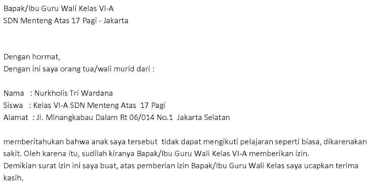 Deddy Kurniawan: Contoh Surat Izin Tidak Masuk Sekolah ...
