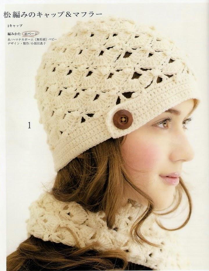 Gorro y bufanda con punto abanico al crochet -  con patrones