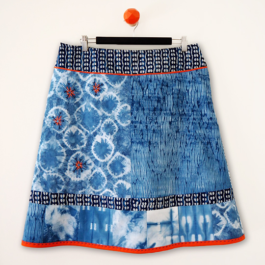 Shibori indigo dyed kantha embroidered skirt front