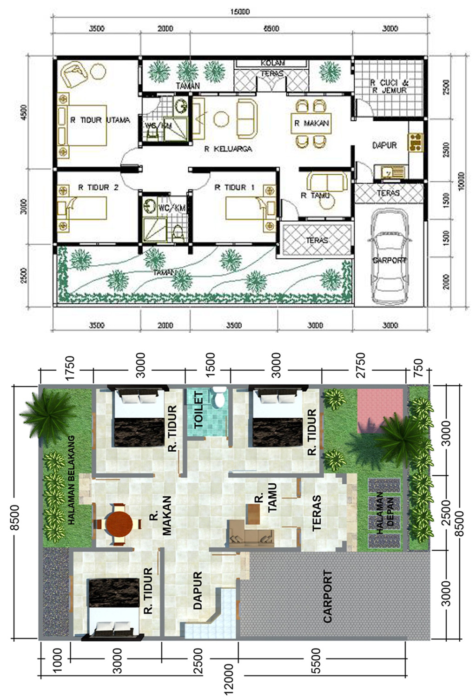Kumpulan Desain Rumah Minimalis Modern Denah 3 Kamar Tidur Gambar