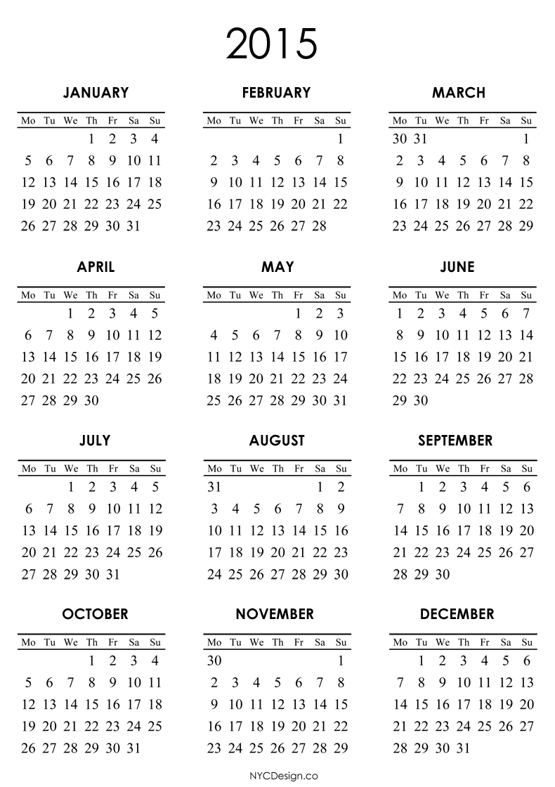 ... , New York, NY: 2015 Calendar Printable - White - 790 X 1120 Pixels