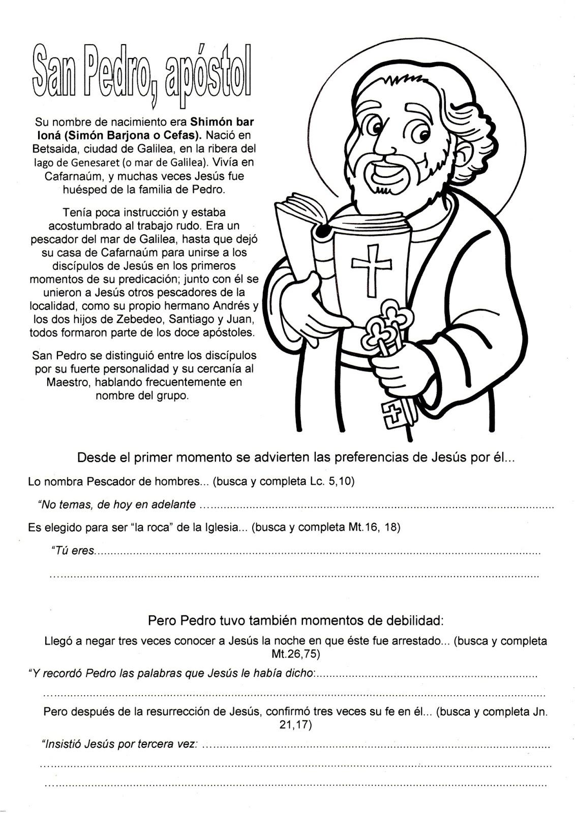 Blog Católico Gotitas Espirituales ®: EL APÓSTOL SAN PEDRO PARA COLOREAR