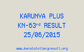 Karunya Plus KN 63 Lottery Result 25-6-2015