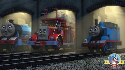 Day of the diesels movie Thomas and friends Gordon the big express engine and Flynn the fire truck