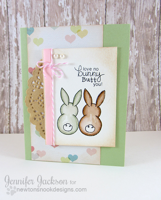 Cute Bunny Card by Jennifer Jackson using Bunny Hop Stamp set by Newton's Nook Designs