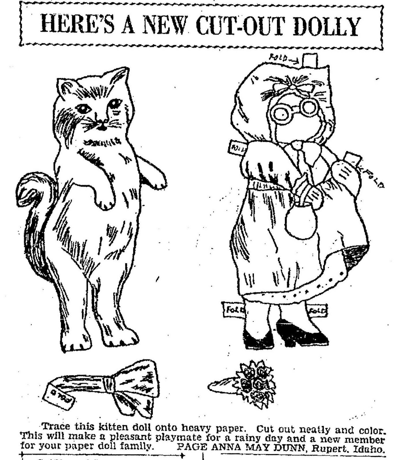 Newspaper coloring page may 24 1931 another paper doll by anna may dunn a kitten doll that will make a pleasant playmate for your paper doll family