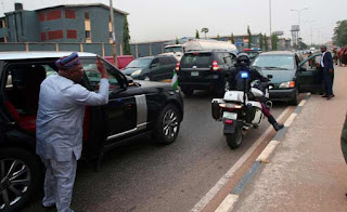 Lagos: What Ambode did to soldier driving against traffic [PHOTOS]