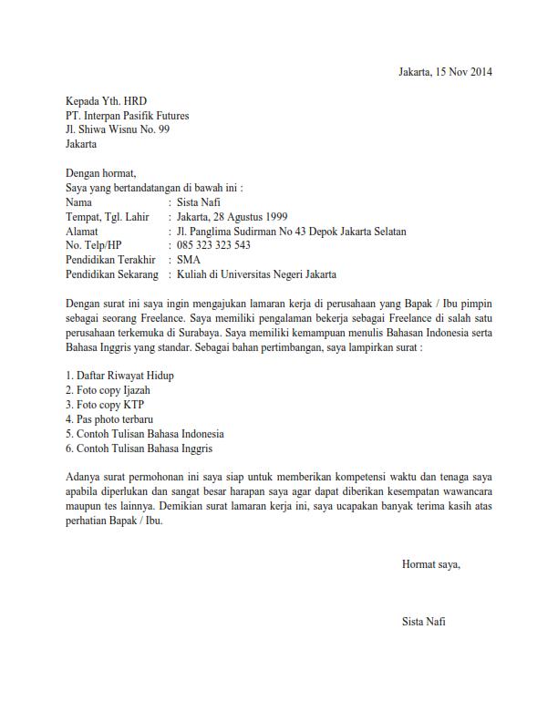 Surat lamaran kerja bahasa inggris, surat lamaran kerja fresh graduate