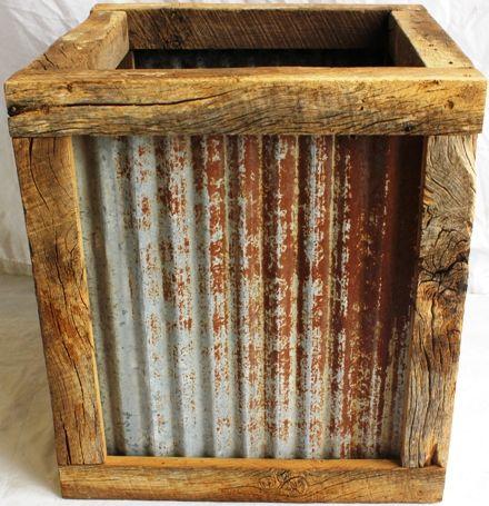 Porta vaso madeira e telha de zinco reuso