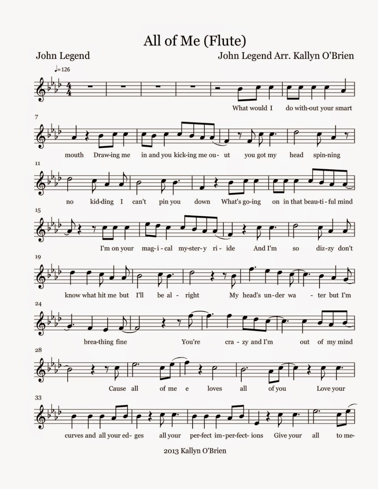 picture about Printable Flute Sheet Music named Flute Sheet Audio: All of Me - Sheet Tunes