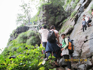 "Trekers Queue to climb the stairs of ""SHIDI GHAT ROUTE"""
