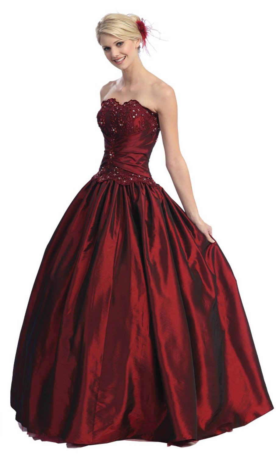 Beautiful wedding dresses ball gown strapless formal prom for Elegant ball gown wedding dresses