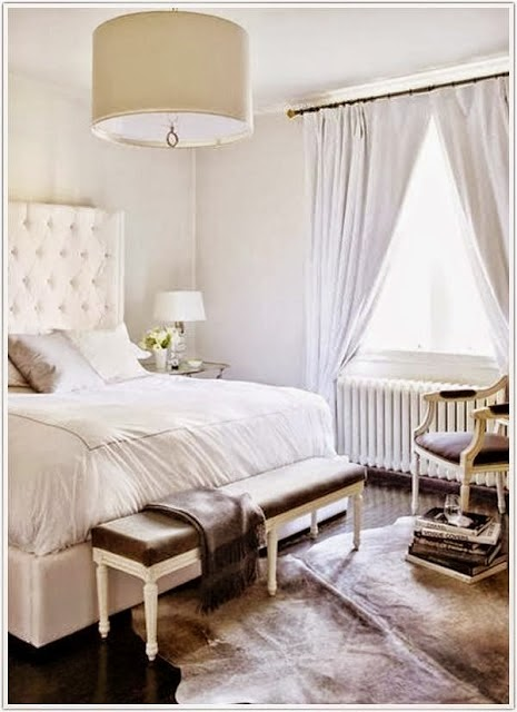beautiful room - white master bedroom with cowhide rug upholstered bed bench
