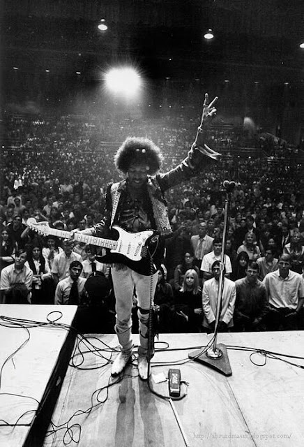 Awesome photo of Jimi Hendrix on stage at a concert in Bakersfield, California, 1968