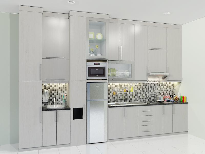 Kitchen set single line minimalis dian interior design for Ukuran rak piring kitchen set