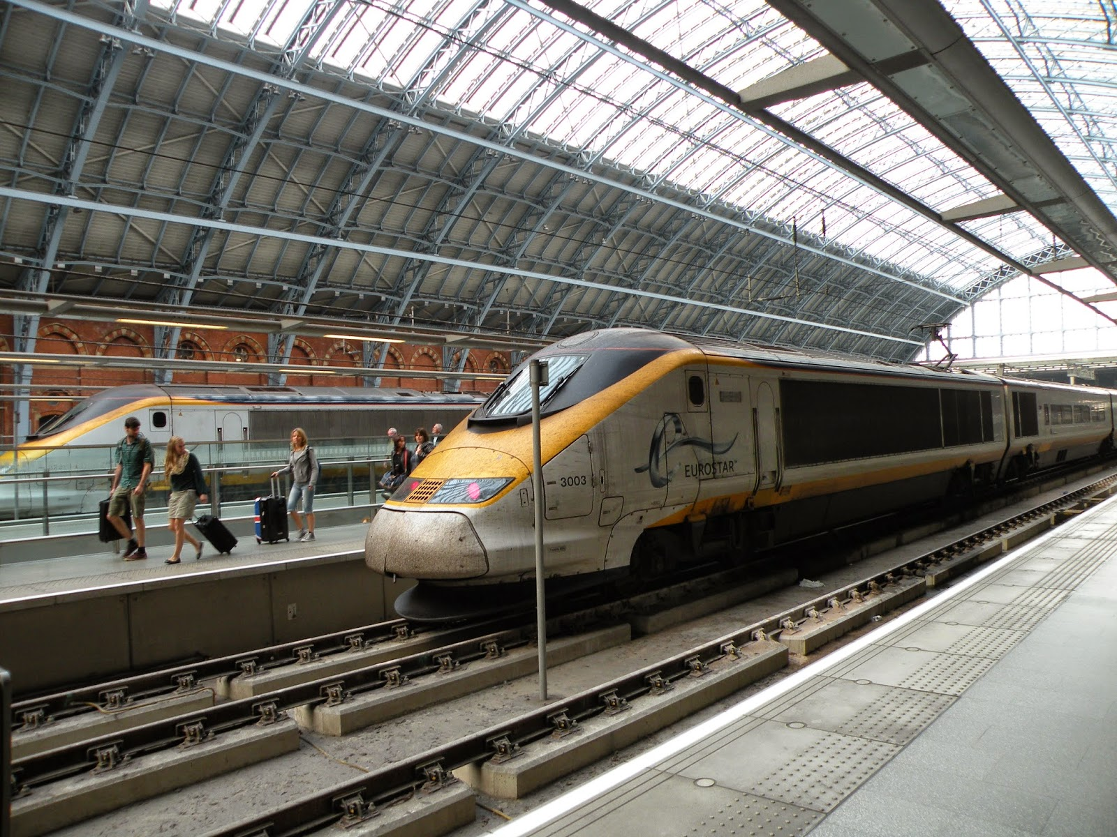 Eurostar train arrives at London's iconic St. Pancras International.  Photograph by Janie Robinson, Travel Writer