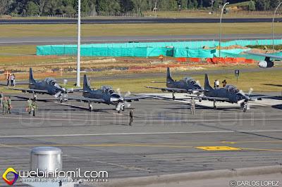 Escuadrilla A-29 Supertucano de la Fuerza Aérea Colombiana.