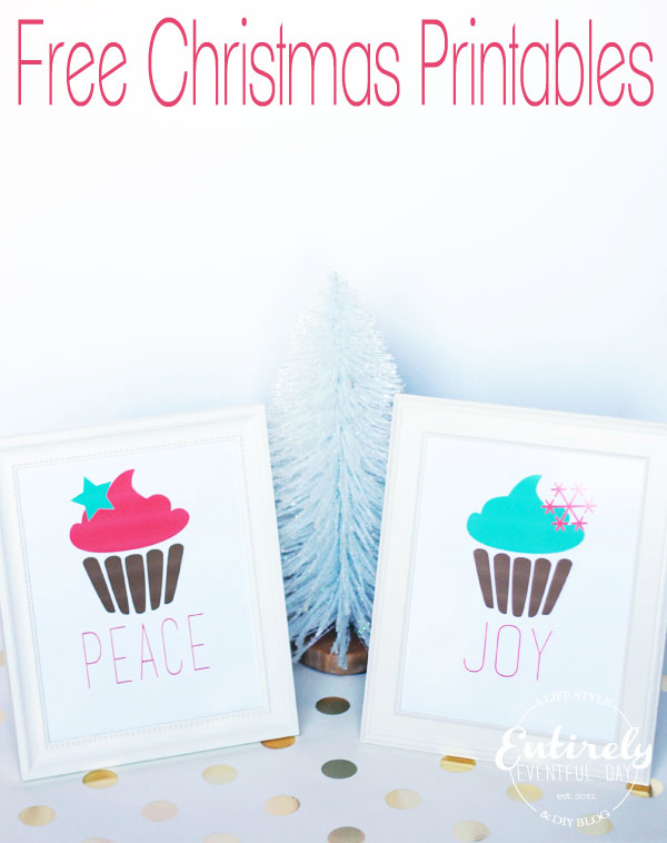 Free Christmas Cupcake Printables. Love the pink and mint.