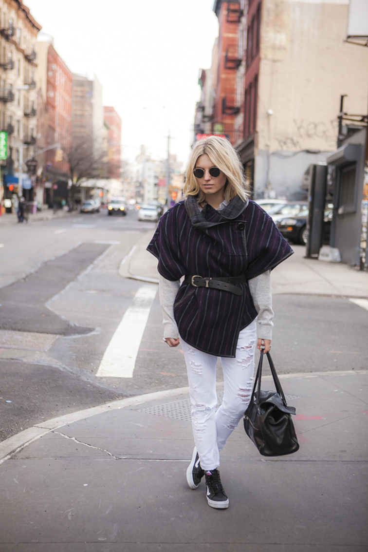 fashion over reason in NYC - Nolita - Zara distressed white denim, Vans, Vansgirls, Suno poncho