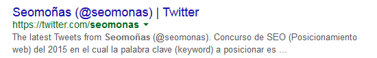 El twitter oficial de las moñas de seo también en los resultados de búsqueda