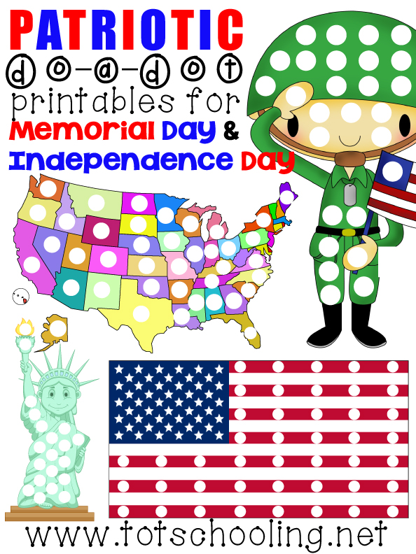 Free Do a Dot Printables for Memorial Day & Independence Day