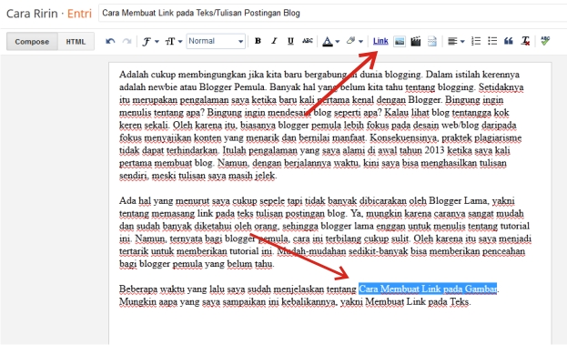 Cara Membuat Link Teks Pada Postingan Blog