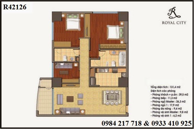 Mua bán chung cư Hà Nội, căn hộ R42126  căn góc chung cư Royal City 131.4 m2