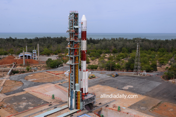 PANORAMIC VIEW OF PSLV-C22 ON THE FIRST LAUNCH PAD