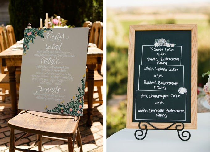 12 Delightful Ways To Use Wedding Signs Throughout Your Wedding - Tell Guests What's On The Menu