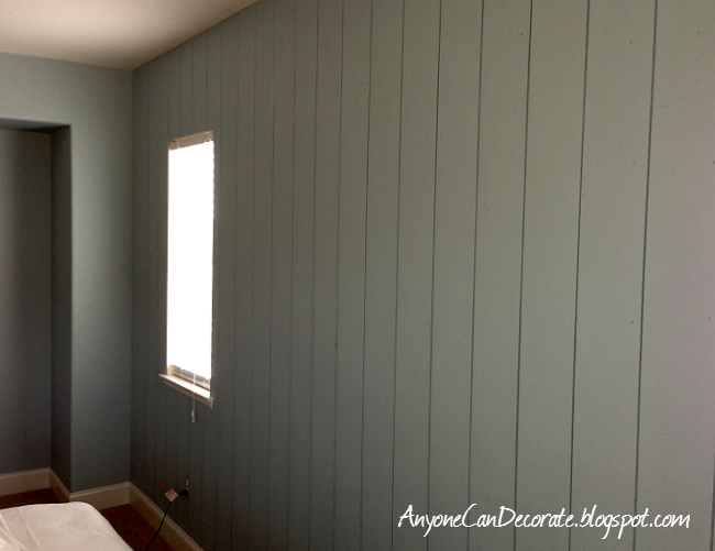 Anyone Can Decorate: DIY'd Wood Panel Wall - Master Makeover - How To Paint Fake Wood Paneling WB Designs