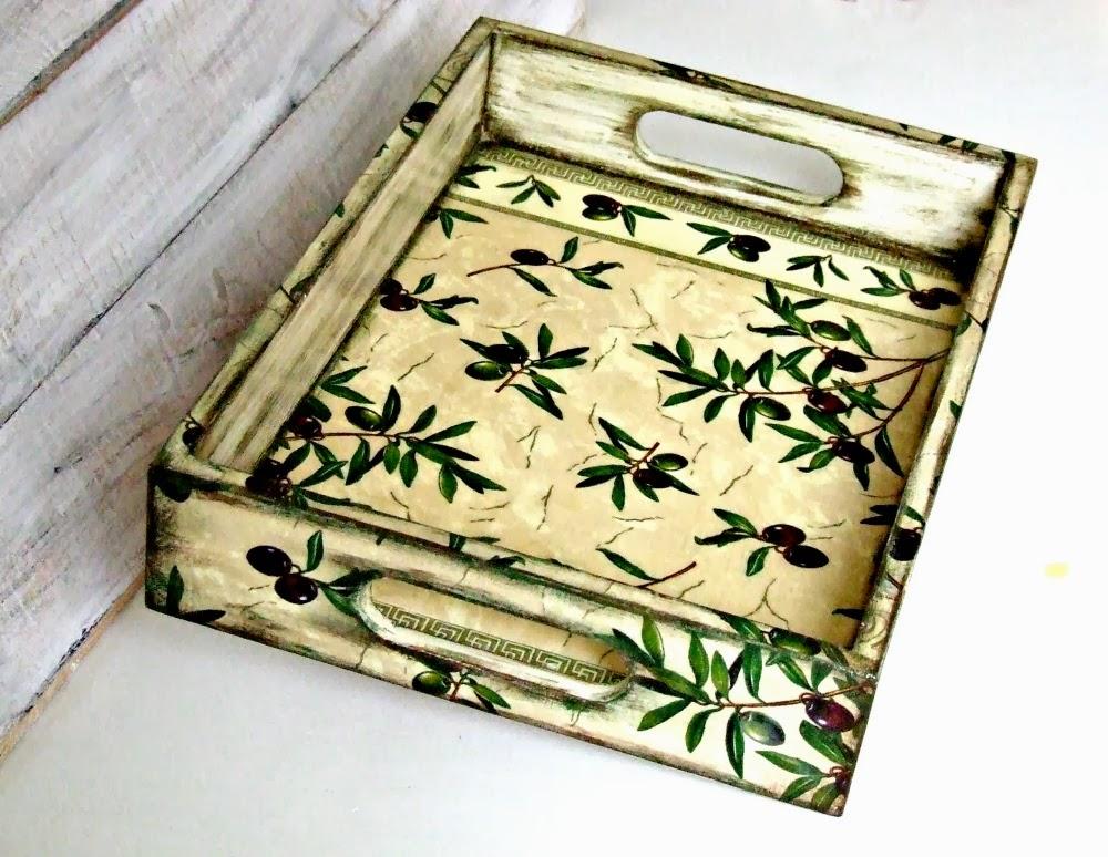Taca decoupage w toskańskim klimacie! Serwetka z oliwkami klasyczny decoupage by Eco Manufaktura