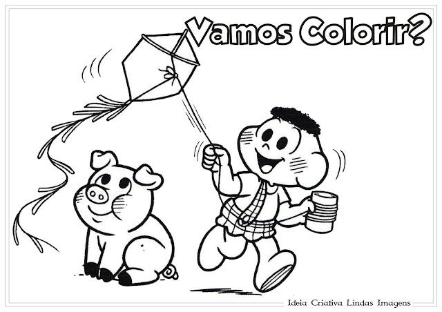 Desenho Cascão e Chovinista Turma da Mônica para colorir