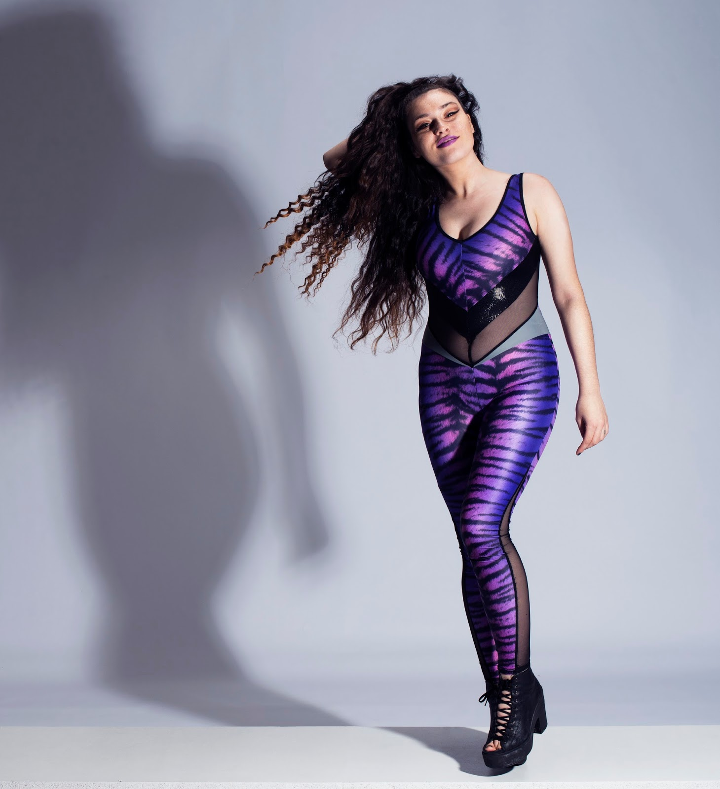 Burnt Soul, purple tiger, lycra, catsuit, festival wear