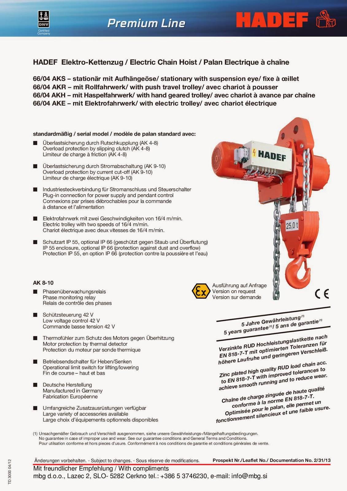 Elektro-Kettenzug / Electric Chain Hoist / Palan Electrique à chaîne - 1