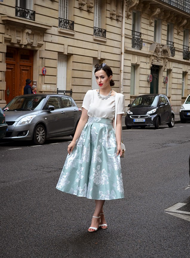 Arabella popping to paris duck egg midi skirt by the