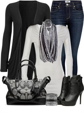 Adorable black cardigan, white blouse, jeans and handbag for fall